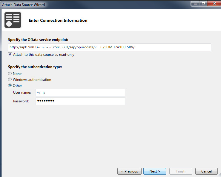 add OData service from SAP in Visual Studio 2013 LightSwitch project