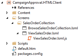 Visual Studio HTMLClient screens for OData entities