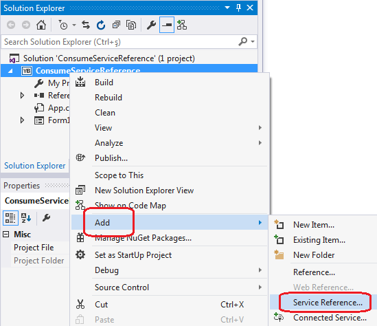 Consume Web Service as Service Reference in Visual Studio 2015