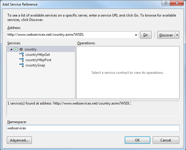 add Service Reference in Visual Studio 2015