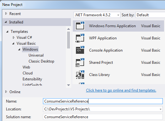 Visual Studio 2015 Windows Forms Application project