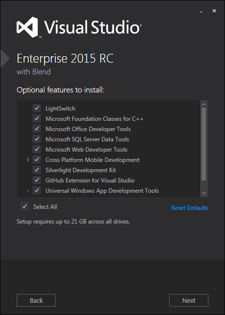 Visual Studio 2015 features to install