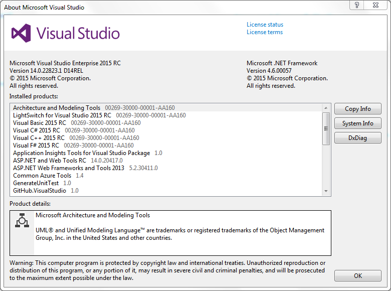 Visual Studio 2015 About screen