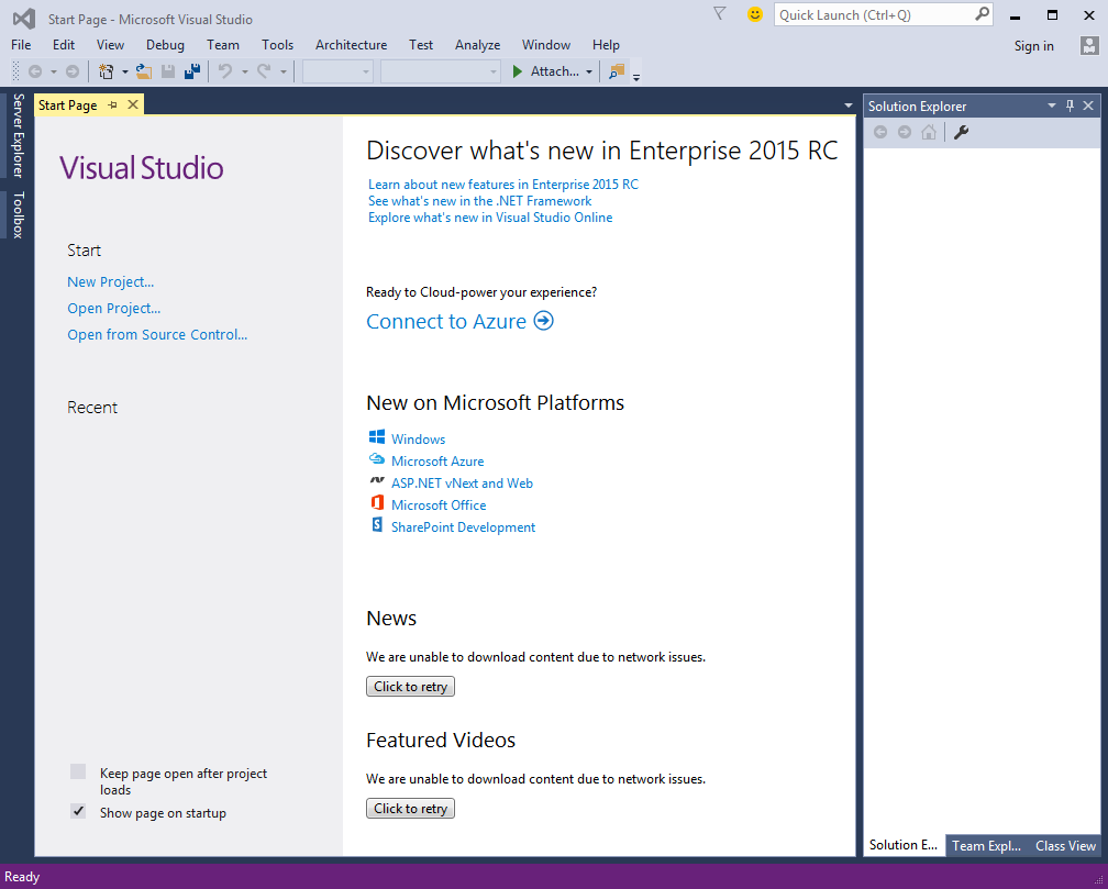 Visual Studio 2015 Start Page