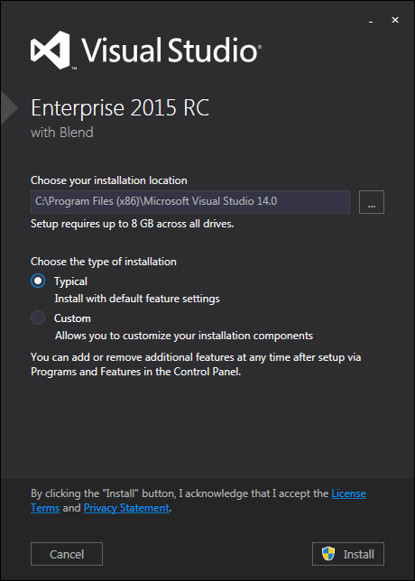 Visual Studio 2015 installation location and setup type
