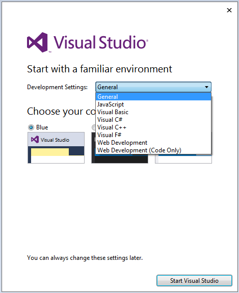 Visual Studio 2015 IDE development settings