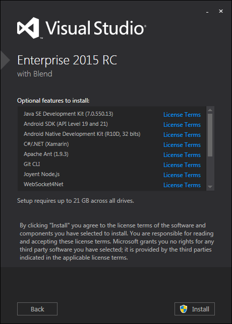 Visual Studio 2015 optional features
