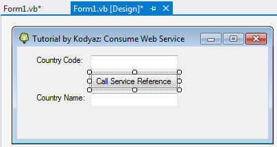 Visual Studio project form1.vb in design mode