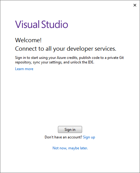 connect to your developer services with Visual Studio 2017