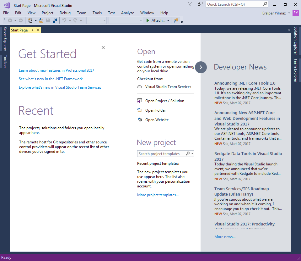 Visual Studio 2017 start page