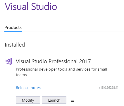 Visual Studio 2017 setup completed