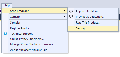 help menu for Visual Studio 2017 Experience Improvement Program settings