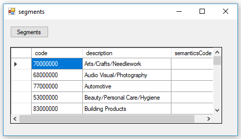 consume product taxonomy API and parse in SQL Server for segments data