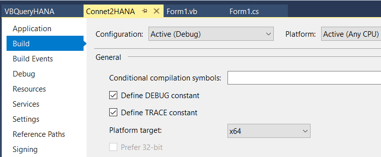 C Sharp project settings in Visual Studio for SAP HANA Client ODBC driver