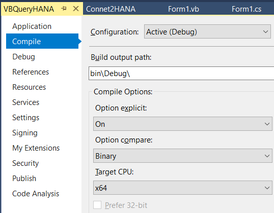 Connect to SAP HANA Database in C-Sharp or VB NET Code using