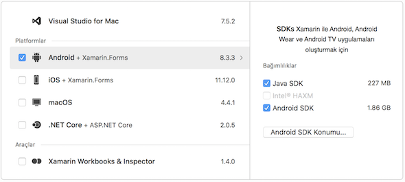 Android components for Visual Studio for Mac setup