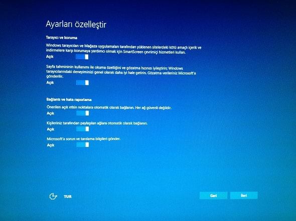 Windows 10 browser and network configuration settings