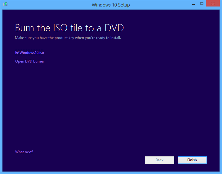 burn Windows 10 installation iso image to DVD