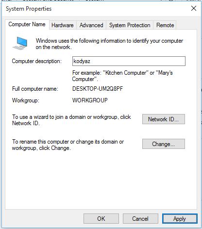 change Windows 10 computer description