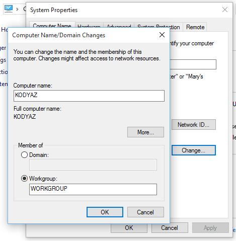 change computer name on Windows 10