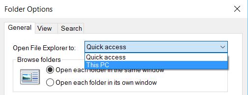 change default folder for File Explorer on Windows 10