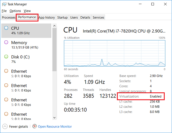 check if virtualization is enabled using Windows Task Manager