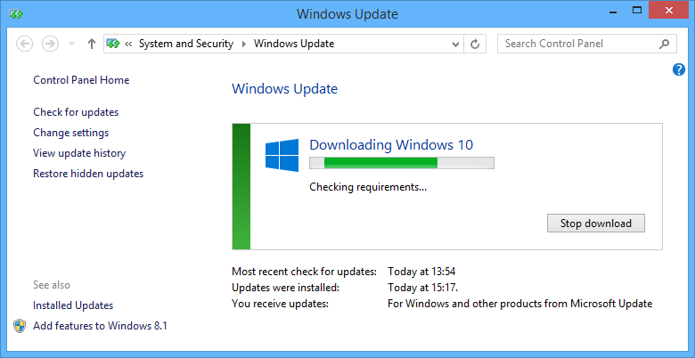 checking requirements for Windows 10 installation