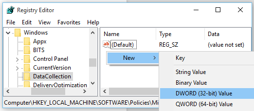 create new dword in registry editor