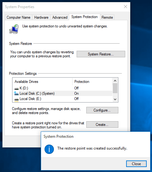 create System Restore point on Windows 10