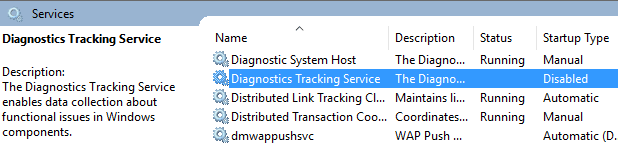 stop and disable Diagnostics Tracking Service on Windows 10