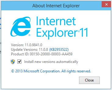 Internet Explorer 11 on Windows 10