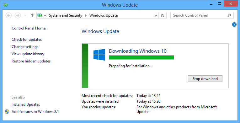 preparing Windows 10 installation