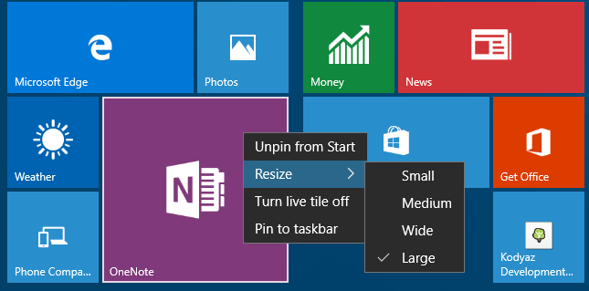 resize app tiles on Windows 10 Start menu