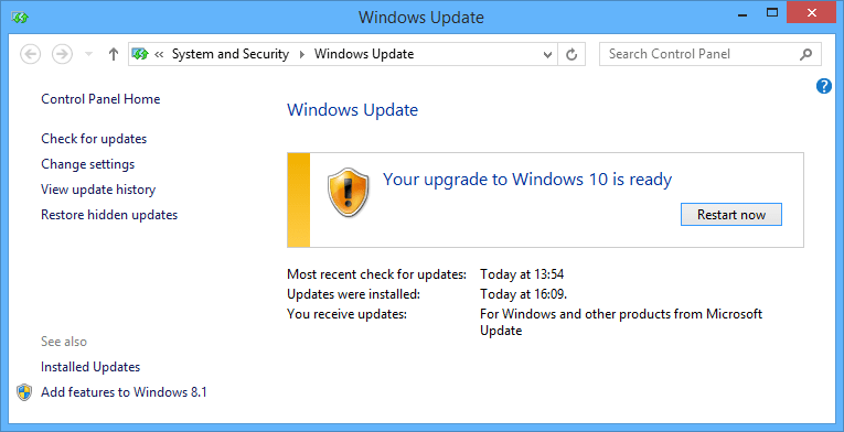 restart for Windows 10 upgrade