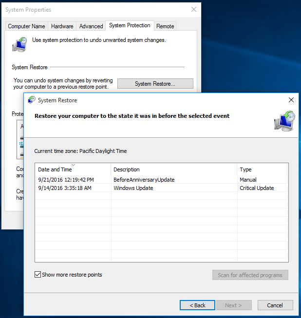 restore Windows 10 using System Restore point