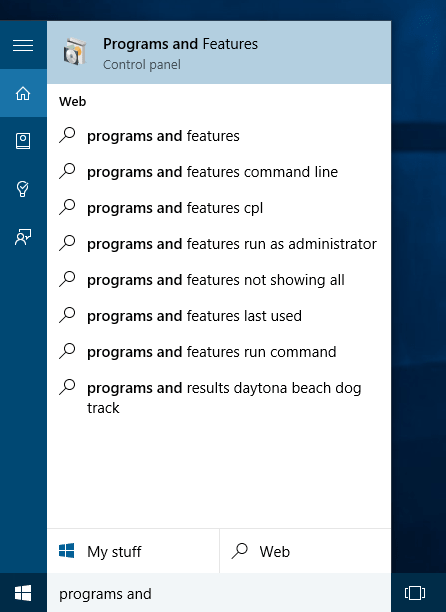 Windows 10 Programs and Features Control Panel item