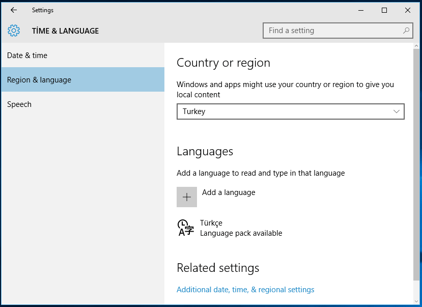 Windows 10 Settings for country, region and language