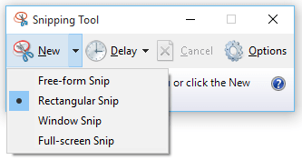Snipping Tool snip oftions for new screen capture