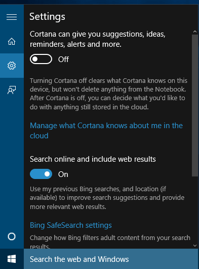 Windows 10 Cortana after region and language selection is done
