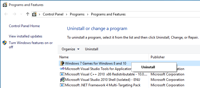 uninstall Windows 7 games from Windows 10