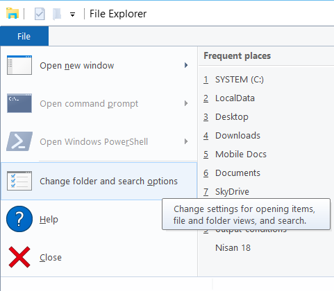 Windows 10 File Explorer settings and options