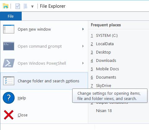 Windows 10 File Explorer settings and options