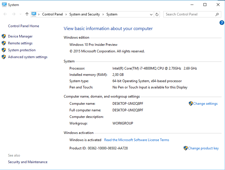 Windows 10 Control Panel for System properties like computer name