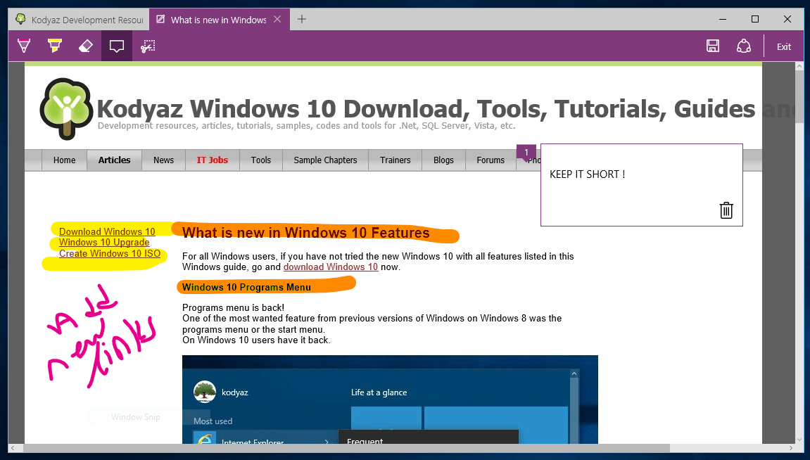 Windows 10 Edge Internet Browser