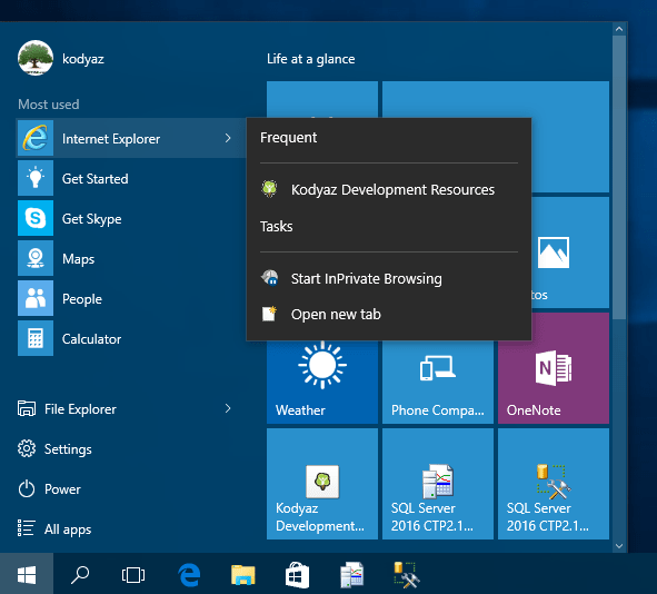 improved Windows 10 Programs and Start menu