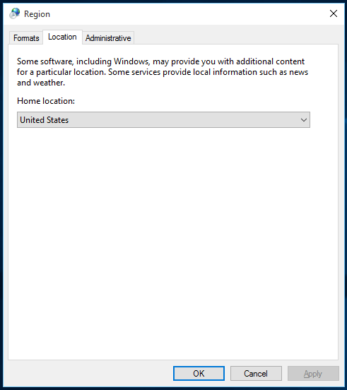Windows 10 Regional Settings