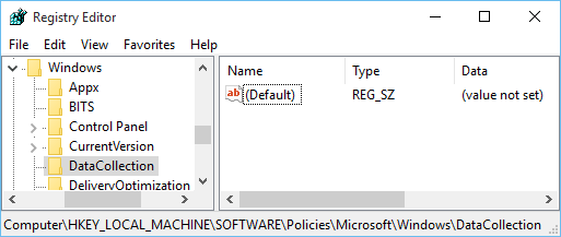 Windows 10 Registry Editor for Data Collection key