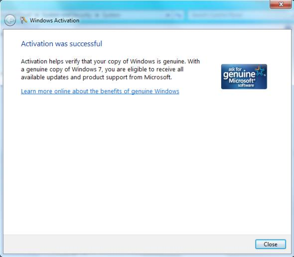 Windows7 activation is successful