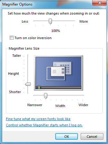 Windows Magnifier options
