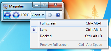 Windows 7 Magnifier view options